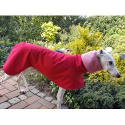 Windhund Softshellmantel rot, gefüttert mit BW-Jersey rot-weiß gestreift, RL 75 cm, Brustumfang 72-76 cm, sofort lieferbar