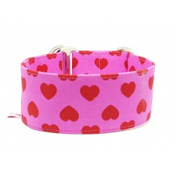 "Zugstopphalsband Windhundhalsband ""Red Hearts on Pink"""