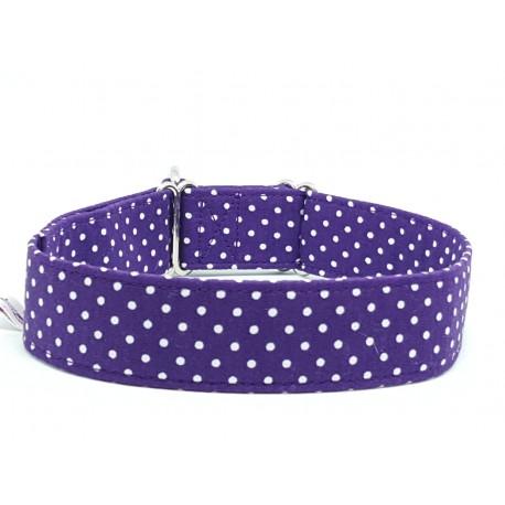 Zugstopphalsband White Dots on Purple