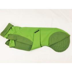 Leichter Windhund Regenmantel grün aus Funktionsstoff, Futter BW-Jersey gestreift, RL  67 cm, Brustumfang ca. 56-62 cm