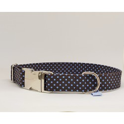 Hundehalsband blue dots on brown