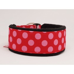 Zugstopphalsband gepolster pink dots on red