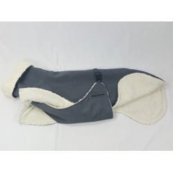 Sofort lieferbar - Windhund Softshellmantel grau-meliert mit BW-Teddy-Plüsch gefüttert, Brustlatz, 70 cm Mantelrückenlänge