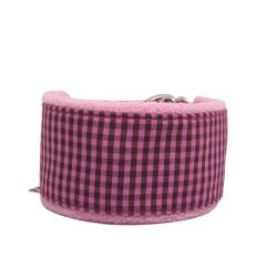 Zugstopp-Kuschelhalsband Vichy Karo Pink, Fleecepolster, 3 Breiten lieferbar