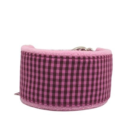 Zugstopp-Kuschelhalsband Vichy Karo Pink