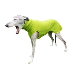 Windhund Pullover Polarfleece hellgrün, mit Klettverschluss, 5 Größen