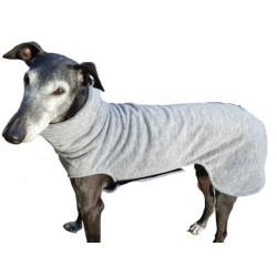 Windhundpullover Polarfleece, hellgrau meliert, mit Klettverschluss, geringe statische Aufladung, 5 Größen