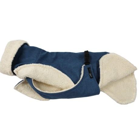 Whippetmantel Softshell jeansblau-meliert, gefüttert mit BW-Teddyplüsch, Bauchlatz,
