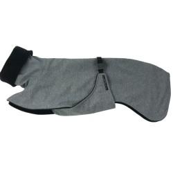 Whippet Mantel Softshell grau-meliert, gefüttert mit Baumwollfleece schwarz, Brustlatz, 5 Größen