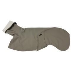 Windhund-Regenmantel in taupe, gefüttert mit BW-Jersey gestreift, verstellbare Kapuze, 4 Größen