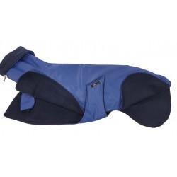 Windhund-Regenmantel in blau, gefüttert mit Polar Fleece blau, Langkragen oder Kapuze, 5 Größen