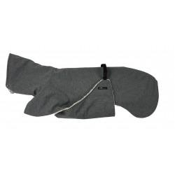 Windhundmantel Softshell mit Bauchlatz, grau-meliert, gefüttert mit Baumwoll-Teddy-Plüsch, 5 Größen