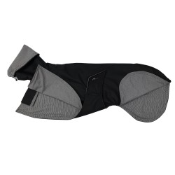 Windhund-Regenmantel schwarz, gefüttert mit Baumwoll-Jersey gestreift, verstellbare Kapuze, 4 Größen
