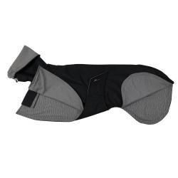 Windhund-Regenmantel schwarz, gefüttert mit Baumwoll-Jersey gestreift, 5 Größen