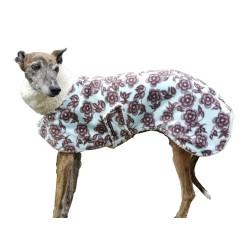 Whippet Mantel Polarfleece, florales Muster, gefüttert mit BW-Teddy-Plüsch, Schnellverschluss, warm. RL 56 cm