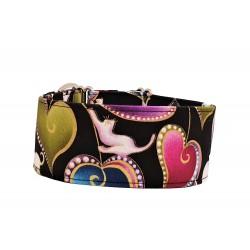 Zugstopp Halsband Windhundhalsband Hearts & Cats, 5 cm Breite