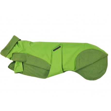 Whippet-Regenmantel in hellgrün, gefüttert mit BW-Jersey grün-gestreift, 5 Größen