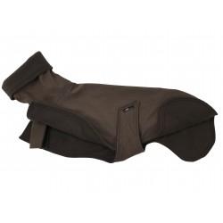 Windhund Softshellmantel braun-melange, gefüttert mit Polarfleece, Schnellverschluss, warm, 4 Größen
