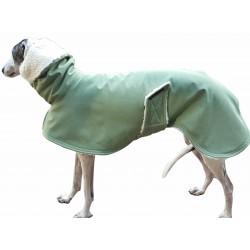 Windhund Softshellmantel lindgrün-meliert, gefüttert mit Baumwoll-Teddy-Plüsch, Schnellverschluss, 4 Größen