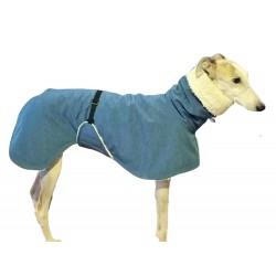 Windhund Softshellmantel jeansblau-meliert mit BW-Teddy-Plüsch gefüttert, Brustlatz, warm, 4 Größen