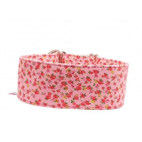 Zugstopp Halsband Windhundhalsband Small Roses on Pink, 3 Breiten lieferbar