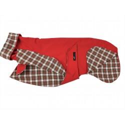 Whippet-Regenmantel rot, gefüttert mit BW-Flanell kariert,  RL: 55 cm, Brustumfang: 60-65 cm