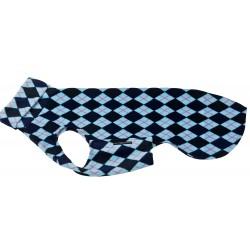 """Windhund Pullover Polarfleece """"Blau kariert"""" ein Klettverschluss, 5 Größen"""