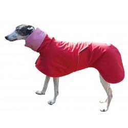 Windhund Softshellmantel rot, gefüttert mit BW-Jersey rot-weiß gestreift, 4 Größen lieferbar