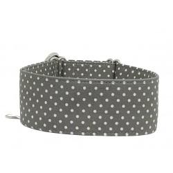 Zugstopp Halsband Windhundhalsband White Dots on Grey, 3 Breiten lieferbar