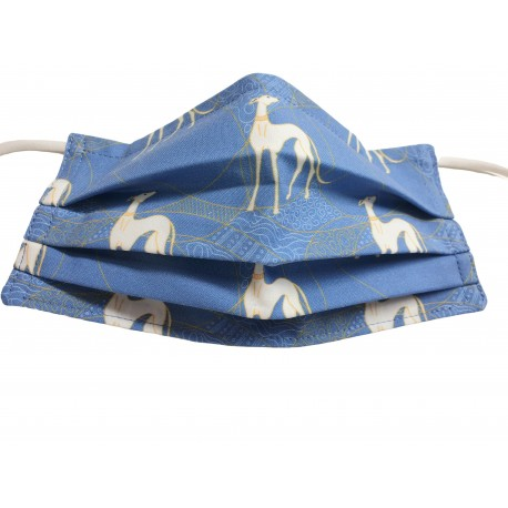 Behelfsmaske, Gesichtsmaske White Greyhounds in golden Circles, Gr. L (Erwachsene)