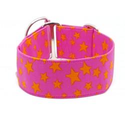 Zugstopphalsband, Windhundhalsband Orange Stars on Pink, 3 Breiten lieferbar