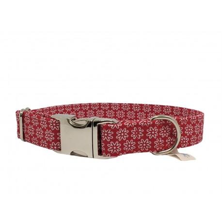 Hundhalsband White Flowers on Red mit Acetal oder Alu-Verschluss, 4 verschiedene Breiten