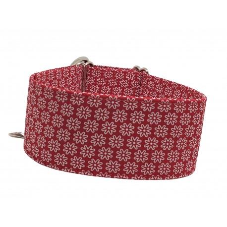 Zugstopp Halsband Windhundhalsband White Flowers on Red, 3 Breiten lieferbar