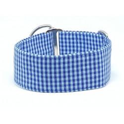 "Zugstopphalsband ""Vichy Karo in blau"", 5 cm Breite"
