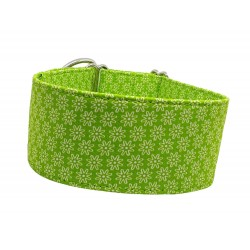 Zugstopp Halsband Windhundhalsband White Flowers on Light Green, 3 Breiten lieferbar