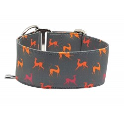 Zugstopphalsband Windhundhalsband Orange Sighthounds on grey, 5 cm Breite