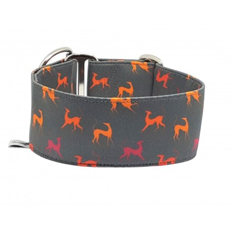 "Zugstopphalsband Windhundhalsband ""Orange Sighthounds on grey"", 5 cm Breite"