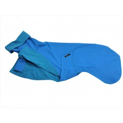 Windhund Regenmantel türkis, gefüttert mit Baumwoll-Jersey türkis mit grünen Punkten, 4 Größen