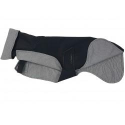 Whippet-Regenmantel in schwarz, gefüttert mit BW-Jersey schwarz-weiß-gestreift, RL 60 cm, Brustumfang 59-64 cm