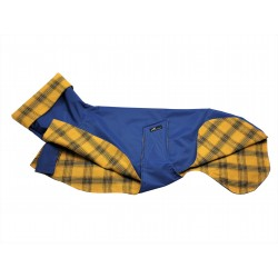 Windhund-Regenmantel in blau, gefüttert mit Baumwoll Flanell gelb kariert, 3 Größen