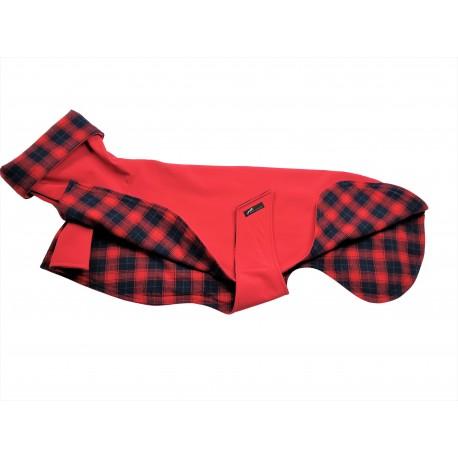 Windhund Softshellmantel rot, gefüttert mit Baumwoll-Flanell blau-rot-kariert, 3 Größen lieferbar