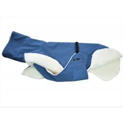 Windhundmantel Softshell mit Bauchlatz,  jeansblau-meliert, gefüttert mit Baumwoll-Teddy-Plüsch, 5 Größen