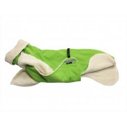 Windhundmantel mit Bauchlatz, Softshell hellgrün, gefüttert mit Baumwoll-Teddy-Plüsch, optional mit Reflektoren