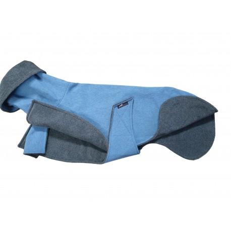 Sofort lieferbar - Windhundmantel Softshell jeansblau-meliert, gefüttert mit Baumwollfleece grau-meliert,, Mantel-RL 70 cm