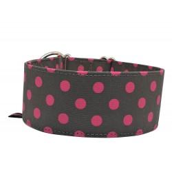 Zugstopp Halsband Windhundhalsband Polka Dots in Pink, 3 Breiten lieferbar