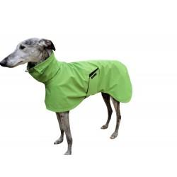 Windhund-Regenmantel hellgrün, gefüttert mit Baumwoll-Jersey gestreift, 5 Größen