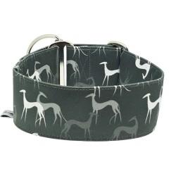 Zugstopphalsband Galgo grey, Halsband mit Windhundmotiv, 3 Breiten lieferbar