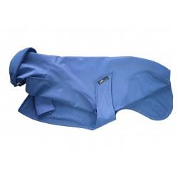 Sofort lieferbar: Whippet-Regenmantel in blau, gefüttert mit Baumwoll-Jersey gestreift, RL 55 cm, BU 59-65 cm