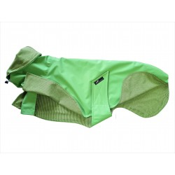 Sofort lieferbar: Whippet-Regenmantel in hellgrün, gefüttert mit Baumwoll-Jersey gestreift, RL 59 cm, BU 59-65 cm