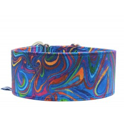 Blau-buntes Zugstopp Halsband, Windhundhalsband Poppy, 3 verschiedene Breiten